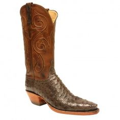 Lucchese Ladies Full-Quill Ostrich Boots - Nicotine