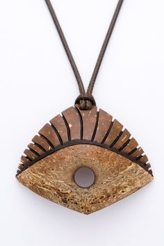 "African pendant ""The EYE"" from Coconut Shell unisex pendant ethno eco natural art pendant hand carved brown pendant orange pendant - $48.00 USD"