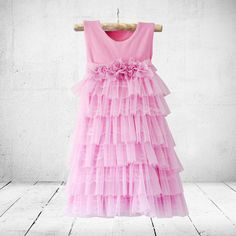 Victoria flower-girl, christening or party dress in pink. Little Miss Little Miss Dress, Bridesmaid Dresses, Wedding Dresses, Bridesmaids, Victoria Dress, Stretchy Material, Special Occasion Dresses, Ankle Length, Bodice