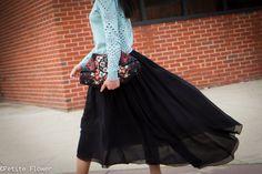 Eyelet Sweatshirt & High-Low Skirt