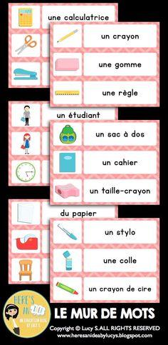 $ Classroom Vocabulary Word Wall & Scavenger Hunt (Mur de Mots & Chasses aux Trésors) QR codes optional