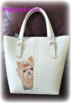 Available-Large Yorkie Tote! Yorkie Hand Painted Large Tote Shoulder Bag Handbag Purse dog art SugarspiceArt