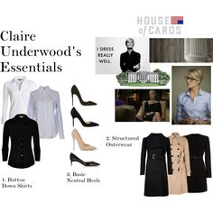 Claire Underwood Essentials Part One by oliviapope411 on Polyvore featuring James Perse, Ralph Lauren, NIC+ZOE, Ted Baker, Marella, Hobbs, Manolo Blahnik, Jimmy Choo and Christian Louboutin