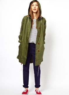 Army Green Hooded Drawstrin Loose Trench Coat