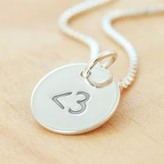 Less Than Three  Heart geek Emoticon Petite Sterling Silver by metalsmitten, $20.00