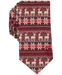 Bar Iii Men's Oh Deer Print Slim Tie, Only at Macy's  - Red