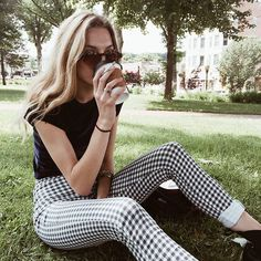 black tee • gingham pant sunglasses • stripey • checkered • relaxed • | Pinterest : @imanikeisha