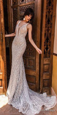crystal design 2018 sleeveless deep plunging v neck full embellishment elegant sheath wedding dress open back chapel train (infinity) mv -- Crystal Design 2018 Wedding Dresses