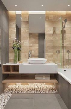 Bathroom decor for your master bathroom remodel. Discover master bathroom organization, master bathroom decor a few ideas, bathroom tile some ideas, master bathroom paint colors, and more. Zen Bathroom Decor, Beige Bathroom, Bathroom Layout, Wood Bathroom, Bathroom Interior Design, Small Bathroom, Bathroom Ideas, Bathroom Organization, Basement Bathroom