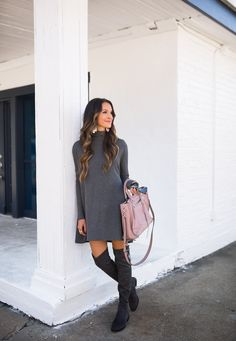 When styling a pair of grey over the knee boots, using more grey might not be as bad as it sounds. Lauren Sims did a great job pairing her grey otk boots with a grey sweater dress. In her own words