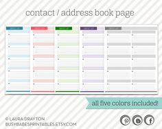 1000 images about organization on pinterest household for Telephone address book template