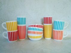 Mid Century Hazel Atlas Candy Stripe Breakfast by SwirlingOrange11