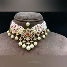 Jewelry OFF! Elegance redefined by Amarsons Pearls and Jewels. this authentic choker necklace embedded with ruby & pearl are perfect for every look & occasion For More Info Whatsapp on : Bead Jewellery, Beaded Jewelry, Silver Jewelry, Handmade Jewellery, Gems Jewelry, Pearl Jewelry, Indian Jewelry, Gemstone Jewelry, Silver Ring