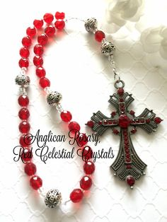 Red Anglican Prayer Beads, Protestant Prayer Beads, Christian Prayer Beads, Red Crystal Prayer Beads, Episcopal Rosary, Elegant Rosaries by FaithExpressions on Etsy