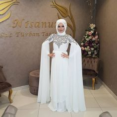 Image could contain: 1 person, text Wedding Abaya, Hijab Wedding Dresses, Wedding Dress Sleeves, Prom Dresses, Hijab Evening Dress, Hijab Dress Party, Evening Dresses, Dress First, The Dress