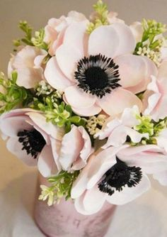 This flower, hydrangea, dahlia, peony and roses are some of my favorites Blush Anemone bouquet black brushstroke centers are modern and crisp! Diy Flowers, Fabric Flowers, Paper Flowers, Beautiful Flowers, Exotic Flowers, Purple Flowers, Flower Colors, Fresh Flowers, Colorful Flowers
