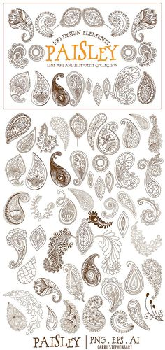 Boho Paisley Line Art Illustrations by Carrie Stephens Art on can find Paisley pattern and more on ou. Paisley Doodle, Paisley Drawing, Paisley Art, Paisley Design, Paisley Pattern, Art And Illustration, Art Illustrations, Mandala Indiana, Line Art