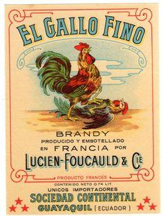 VINTAGE LABEL EL GALLO FINO BRANDY COQ ROOSTERS