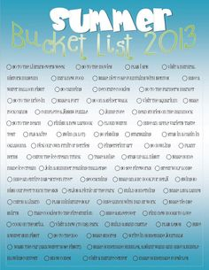 THIS is what its all about!: Summer Bucket List and Camp Mom 2013 Weekly themes