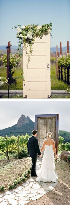 vintage door wedding ceremony entrance. perfect for a winery or backyard wedding.