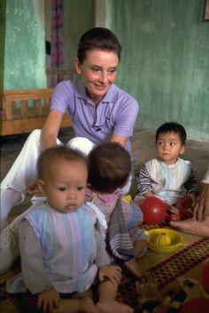 UNICEF Goodwill Ambassador Audrey Hepburn in Vietnam, 1990.