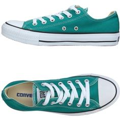 Converse All Star Sneakers ($104) ❤ liked on Polyvore featuring shoes, sneakers, green, flat shoes, round toe flat shoes, logo shoes, round cap and green flat shoes