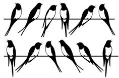 Swallows (STH6158 94 18) - Caselio Stickers - A fun wall sticker with stylized swallows birds sitting on a wire. A total of 2 stickers within this pack. Sticker sheets are 67cm x 23.5cm. Unfortunately, samples are not available.