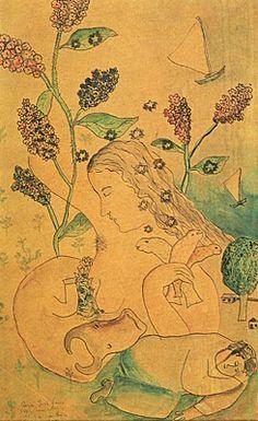Sonhos - Cícero Dias e suas principais pinturas ~ Pintor pernambucano Flower Art, Vintage World Maps, Flowers, American, Fine Art, Dibujo, Dreams, Princesses, Artists