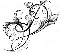 Freeform Leaf Scroll royalty-free freeform leaf scroll stock vector art & more images of angle Outline Designs, Designs To Draw, Fairy Wing Tattoos, Tattoo Filler, Architecture Artists, Tangle Patterns, Line Tattoos, Floral Illustrations, Free Vector Art