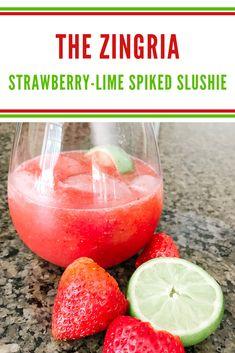 The Zingria! My take on a famous summer cocktail with lots of strawberries, lime and bubbly!! Cool & refreshing. #summercocktail