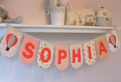 Personalised padded name bunting 'Peaches & by DownGrapevineLane, $10.00
