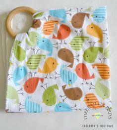 Wood Teething Ring & Birdies Print Blanket Natural Birch Teether/ Teething Ring/ Waldorf Toy