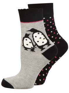 Twin Pack Penguin Motif Socks - the perfect stocking filler - £5 > www.evans.co.uk