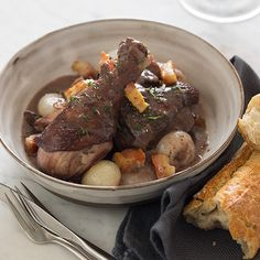 Coq Au Vin, a recipe for chicken braised in red wine. A perfect fall dinner!