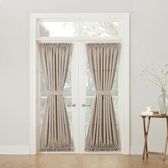 Sun Zero Bella Room Darkening Rod Pocket Door Panel In Taupe - Add a touch of elegant style to your glass or French doors with the attractive Bella Rod Pocket Door Panel. This pretty panel also makes the perfect decorative accent to a door. French Doors With Screens, French Doors Patio, Drapes And Blinds, Drapes Curtains, French Door Coverings, Window Coverings, Front Door Curtains, French Doors Bedroom, Pocket Doors