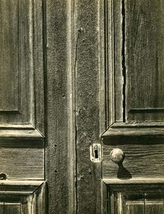 1957 Door, Old Church, Chinese Camp, California [close-up of weathered double paneled wooden door, doorknob and lock hole] by Ansel Adams Minimal Photography, Fine Art Photography, Street Photography, Black And White Landscape, Black N White Images, Great Photographers, Landscape Photographers, Ansel Adams Photography, American Artists