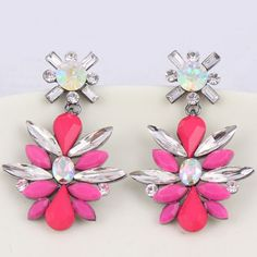 Pair of Trendy Rhinestoned Floral Earrings For Women #shoes, #jewelry, #women, #men, #hats, #watches