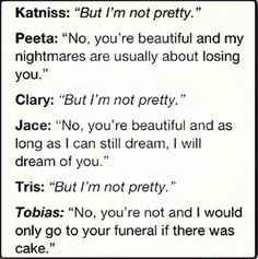 Actually, Tobias said he would only go to the party that the people that murdered her were celebrating if there was cake. But yeah, basically.