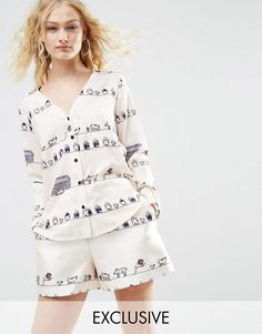 Find the best selection of ASOS Made In Kenya Illustrated Stripe Shirt. Shop today with free delivery and returns (Ts&Cs apply) with ASOS! Kenya, Asos, Cool Style, My Style, Fashion Online, Fashion Looks, Rompers, Blouse, Illustration