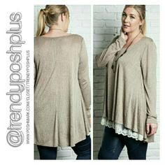 Beautiful Mocha Tunic with Lace Trim Double panel lace trim front. Premium quality fabric!  60% Cotton 40% Polyester Tops Tunics
