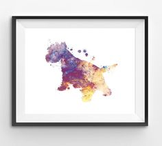 Colorful West Highland White Terrier Watercolor Print Dog