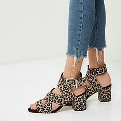 fc4cd025618 Brown leopard print pony hair sandals Brown Leopard