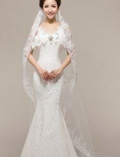 ❀ Lace White Sequined Bridal Veils | Riccol ❤