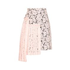 MSGM Overlap Skirt ($235) ❤ liked on Polyvore featuring skirts, bottoms, msgm, pale pink, high waisted floral skirt, pale pink skirt, high waisted pleated skirt, high-waisted skirts and floral print skirt