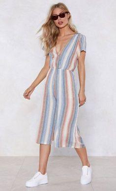 Nasty Gal Line Dance Striped Jumpsuit Cami Tops, Palazzo Pants Online, Cotton Palazzo Pants, Plazzo Pants, Trendy Summer Outfits, Striped Jumpsuit, Overall, Stripe Print, Fashion Pants