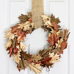 Metallic Browns and Gold Leaf Painted DIY Fall Wreath