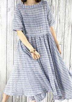 2016 New flowy cotton maxi dress blue plus size sundress summer maternity dresses