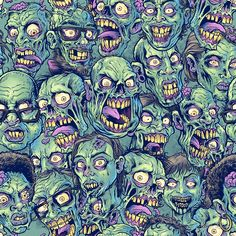 'Zombie Repeatable Pattern' Art Print by Brian Allen Zombie Wallpaper, Witchy Wallpaper, Halloween Wallpaper, Dark Art Illustrations, Illustration Art, Zombie Background, Colorful Skulls, Unique Poster, Cartoon Faces
