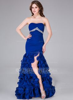 Trumpet/Mermaid Sweetheart Sweep Train Beading Split Front Cascading Ruffles Zipper Up Strapless Sleeveless No Royal Blue Winter Spring Fall General Plus Chiffon Prom Dress Discount Prom Dresses, Prom Dresses Online, Homecoming Dresses, Bridesmaid Dresses, Cheap Formal Dresses, High Low Prom Dresses, Strapless Dress Formal, Ruffle Beading, Mermaid Sweetheart