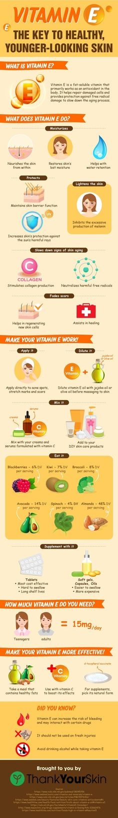 Benefits of Vitamin E Oil, Capsules, Cream for Skin, - For Scar and anti aging, Foods with Vitamin E. #VitaminE #VitaminEforSkin #ThankYourSkin